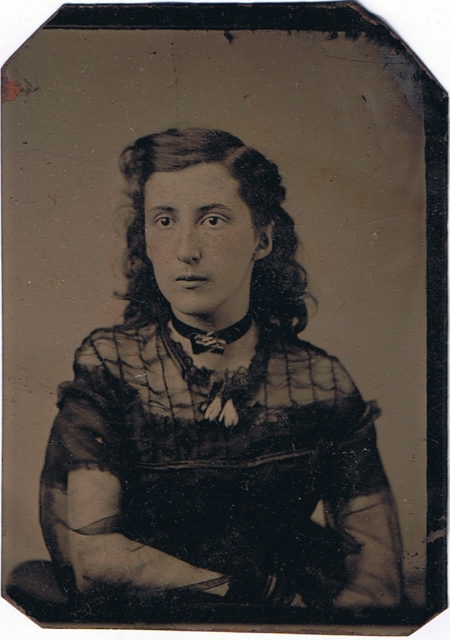Tintype of girl in sheer dress, c. 1870